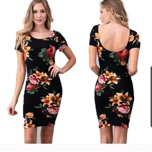 Heart and hips black floral midi length
